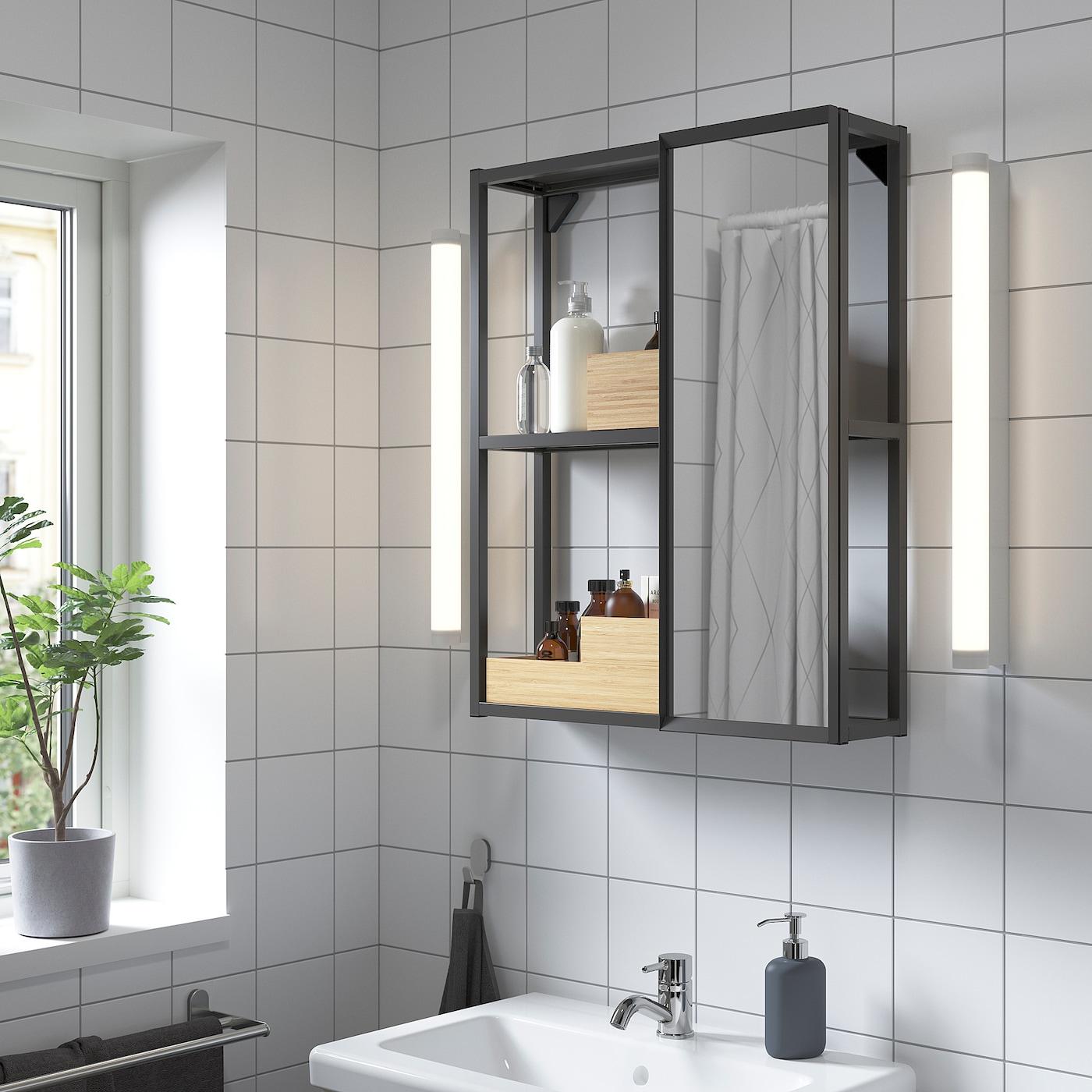 ENHET Spiegelschrank, anthrazit, 60x17x75 cm