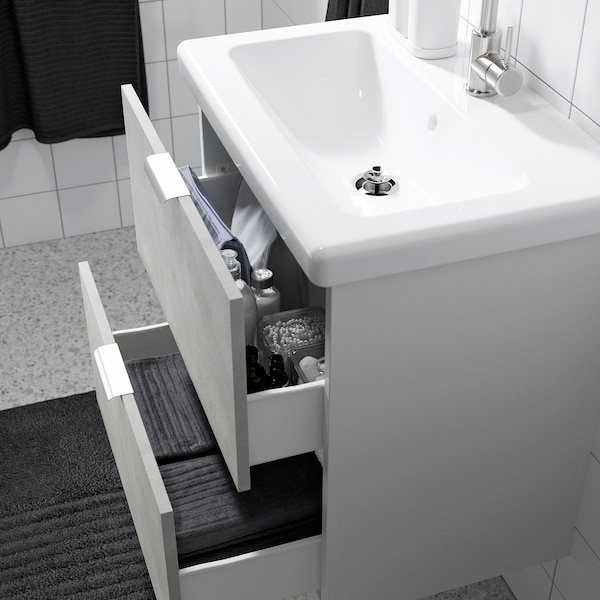 ENHET / TVÄLLEN Badeinrichtung 13-tlg., Betonmuster/weiß GLYPEN Hahn, 64x43x65 cm