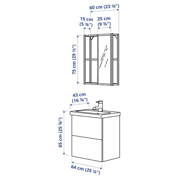 ENHET / TVÄLLEN Badeinrichtung 13-tlg., grau Rahmen/anthrazit RUNSKÄR Mischbatterie, 64x43x65 cm