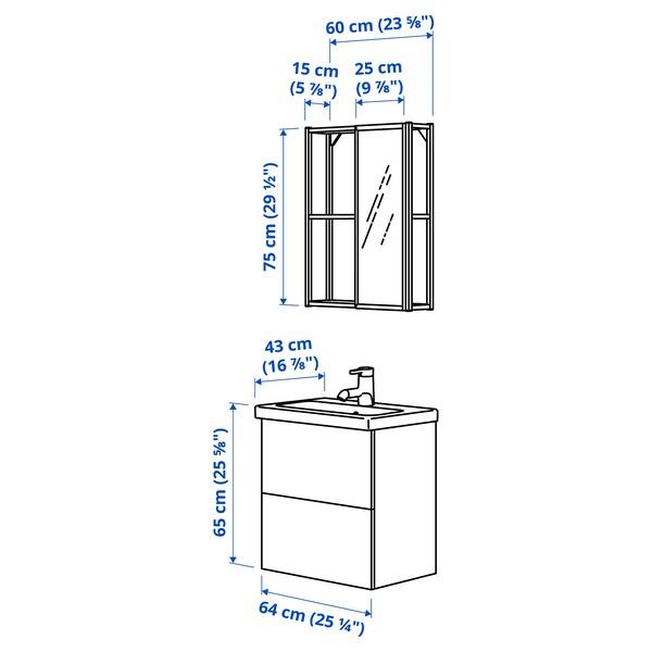 ENHET / TVÄLLEN Badeinrichtung 13-tlg., weiß/anthrazit SALJEN Hahn, 64x43x65 cm