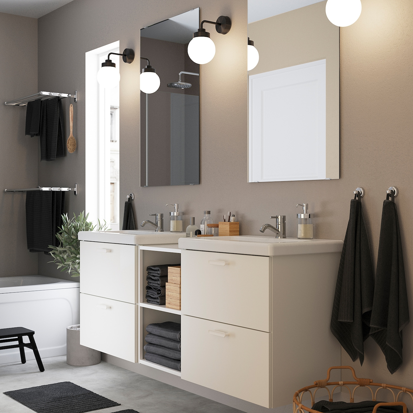 ENHET / TVÄLLEN Badezimmer Set 20 tlg.   weiß/PILKÅN Mischbatterie  20x20x20 cm
