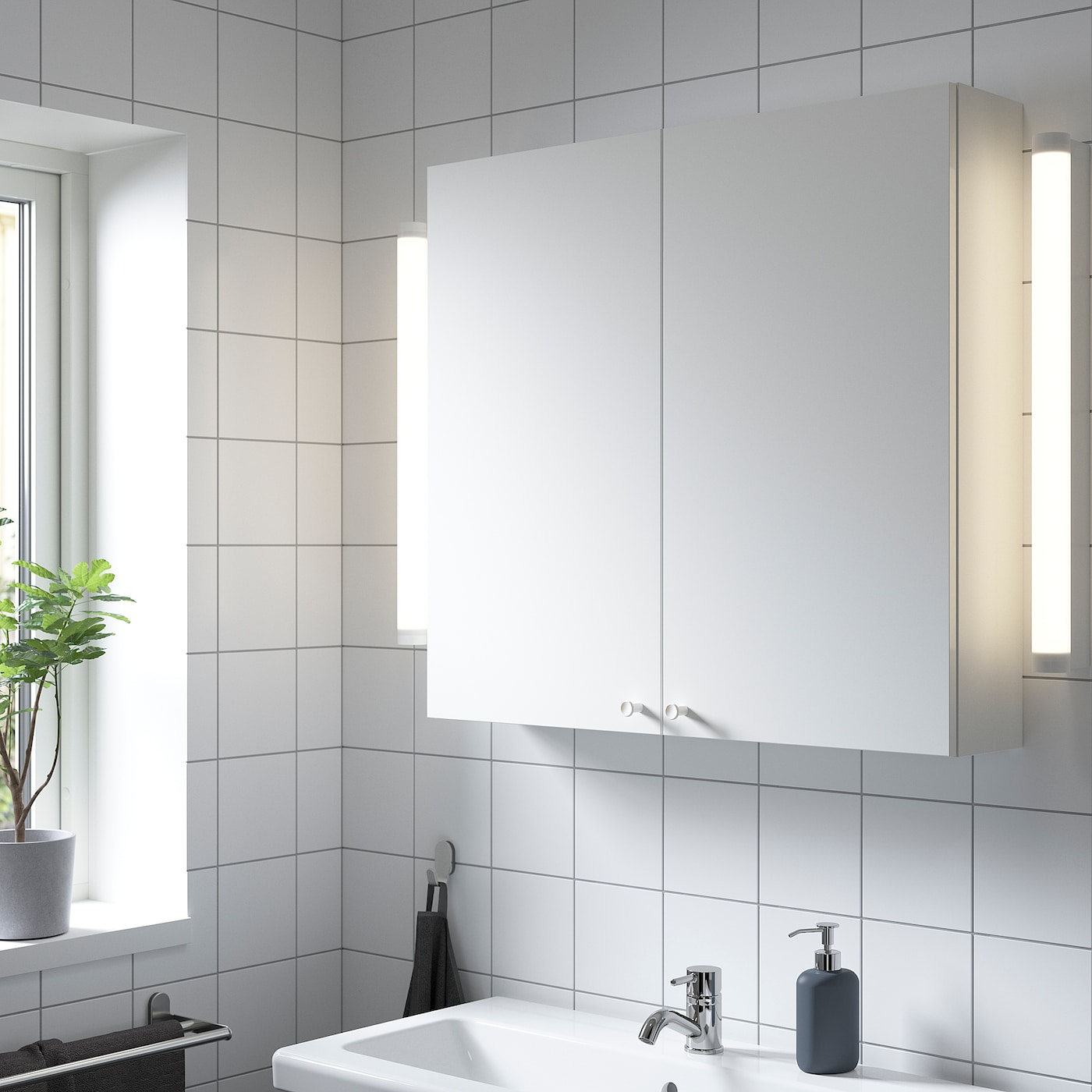 ENHET Wandschrank m 2 Böden/Türen, weiß, 80x17x75 cm