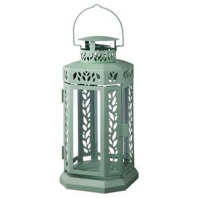 ENRUM Laterne für Blockkerze innen/außen, grün, 27 cm