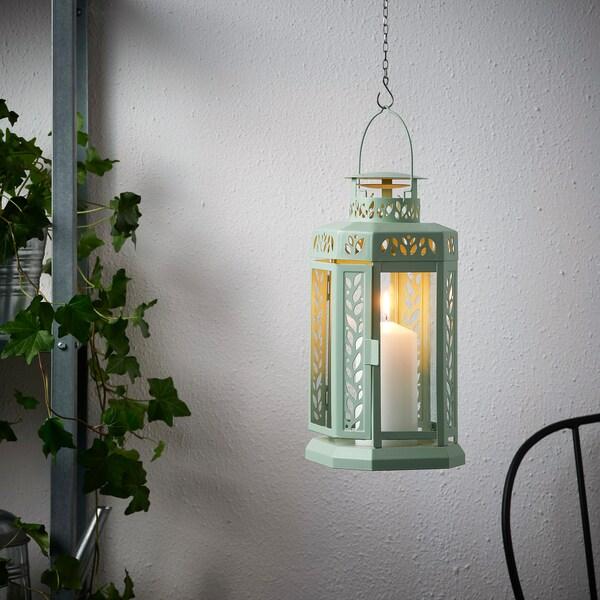 ENRUM Laterne für Blockkerze innen/außen, grün, 28 cm