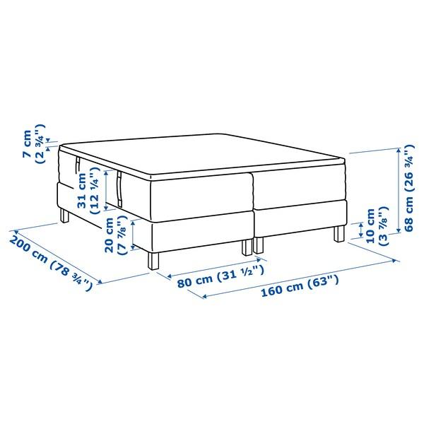 ESPEVÄR Boxbett, Hokkåsen mittelfest/Tustna weiß, 160x200 cm
