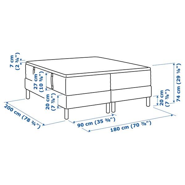 ESPEVÄR Boxbett, Hyllestad fest/Tustna weiß, 180x200 cm