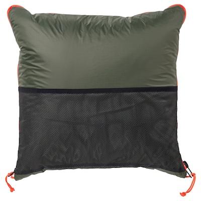 FÄLTMAL Kissen/Decke, tiefgrün, 190x120 cm
