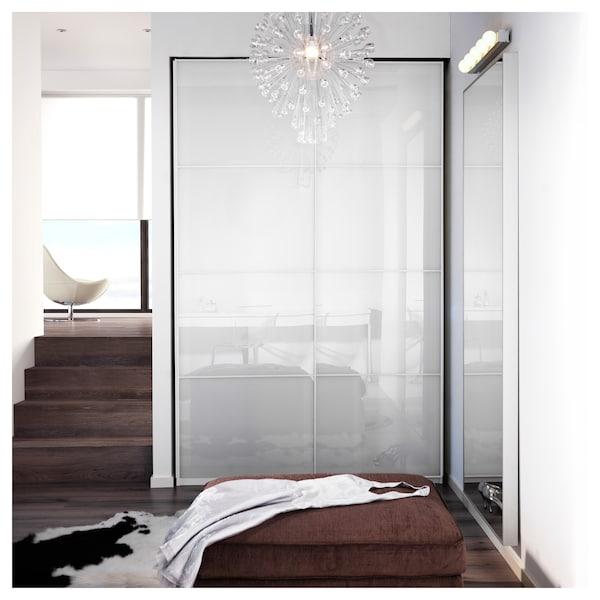 FÄRVIK Schiebetürpaar, weißes Glas, 150x236 cm
