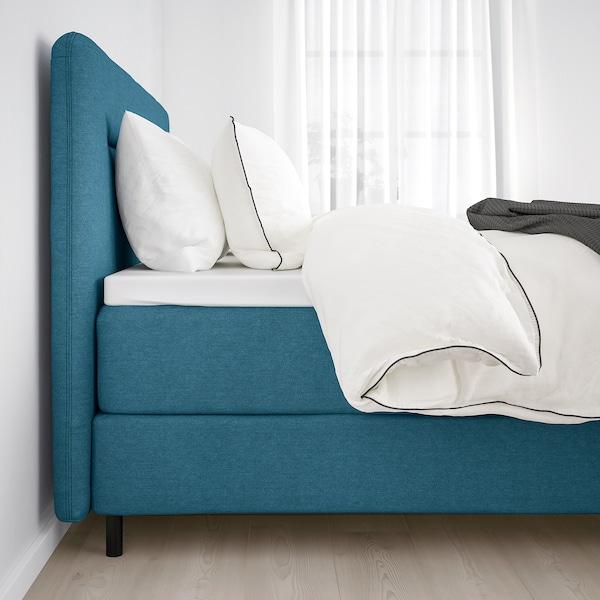 FINNSNES Boxspringbett, Hövåg fest/Tussöy blau, 140x200 cm