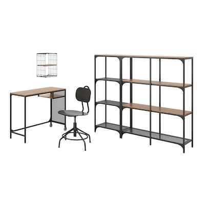 FJÄLLBO/KULLABERG / GULLHULT Schreibtisch+Aufbewahrungskombi, und Drehstuhl schwarz/Kiefer