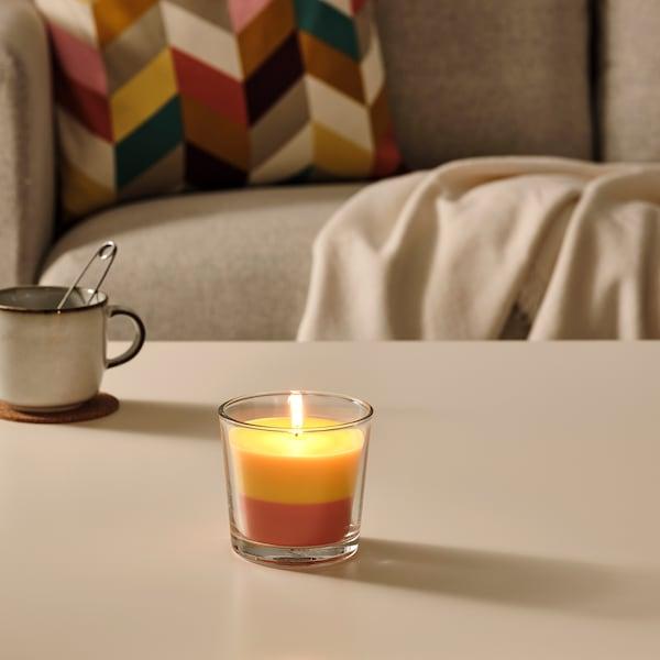 FORTGÅ Duftkerze im Glas, Banane/orange/gelb, 9 cm