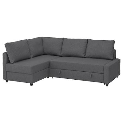 FRIHETEN Eckbettsofa mit Bettkasten, mit zusätzlichen Rückenkissen/Skiftebo dunkelgrau