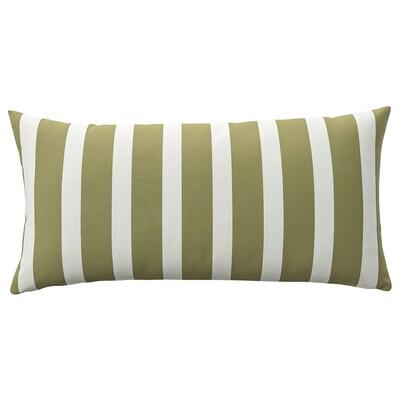 FUNKÖN Kissen drinnen/draußen, beigegrün/weiß, 30x58 cm