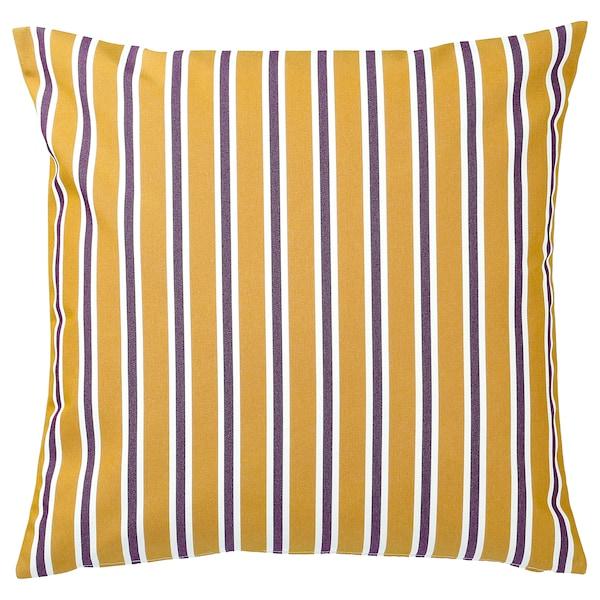 FUNKÖN Kissenbezug drinnen/draußen, dunkelgelb/lila, 50x50 cm