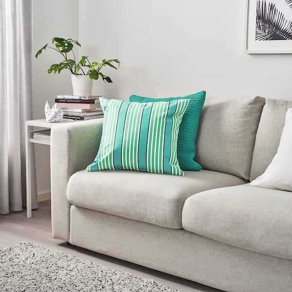 FUNKÖN Kissenbezug drinnen/draußen, türkis/grün, 50x50 cm