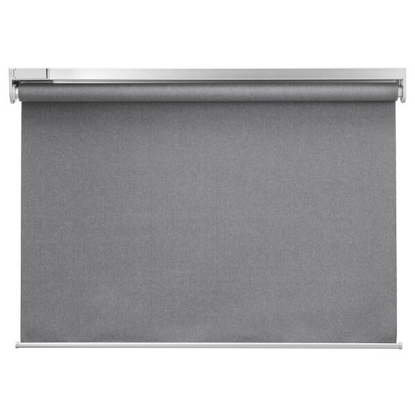 FYRTUR Verdunklungsrollo, kabellos/batteriebetrieben grau, 100x195 cm
