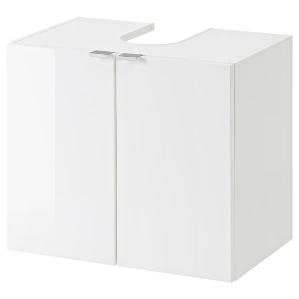 GETRYGGEN Waschbeckenunterschrank, 2 Türen, Hochglanz/weiß, 60x38x51 cm