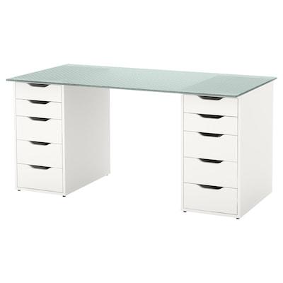 GLASHOLM / ALEX Tisch, Glas/Wabenmuster weiß, 148x73 cm