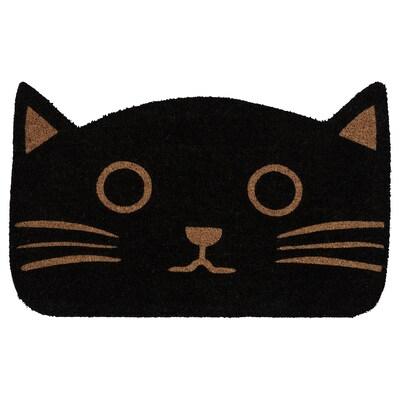 GLEJBJERG Fußmatte, schwarz/Katze, 50x80 cm