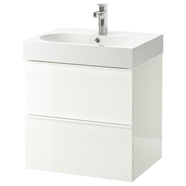 GODMORGON / BRÅVIKEN Waschbeckenschrank/2 Schubl., Hochglanz weiß/BROGRUND Mischbatterie, 61x49x68 cm