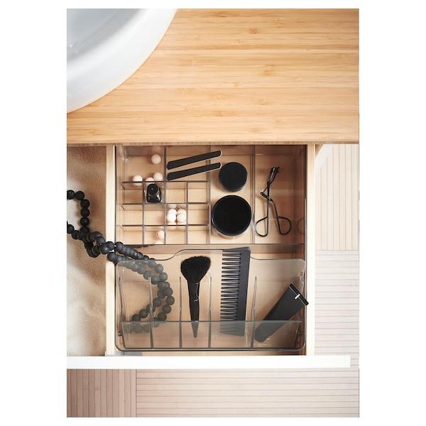 GODMORGON Kasten mit Fächern, rauchfarben, 32x28x10 cm