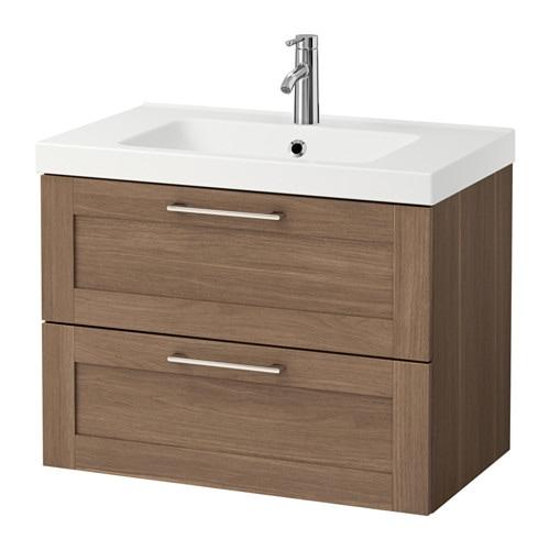 godmorgon odensvik waschbeckenschrank 2 schubl nussbaum 83x49x64 cm ikea. Black Bedroom Furniture Sets. Home Design Ideas