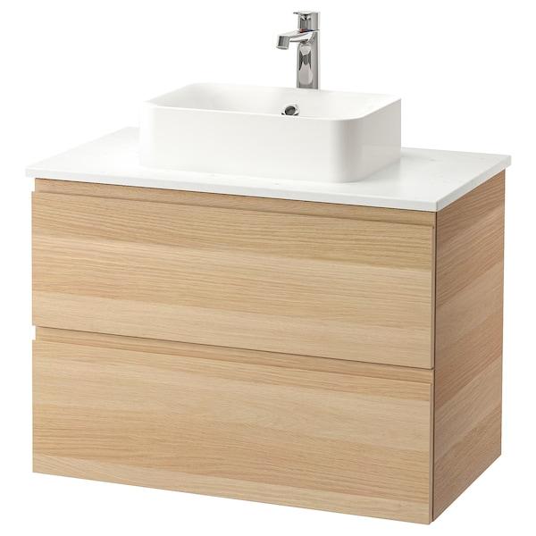 GODMORGON/TOLKEN / HÖRVIK Waschbeckenschr+Aufsatzwaschb 45x32, Eicheneff wlas/marmoriert BROGRUND Mischbatterie, 82x49x72 cm