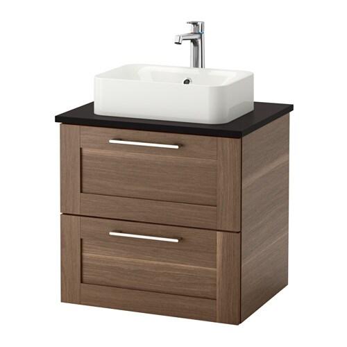 godmorgon tolken h rvik waschbeckenschr aufsatzwaschb 45x32 anthrazit nussbaumnachbildung. Black Bedroom Furniture Sets. Home Design Ideas
