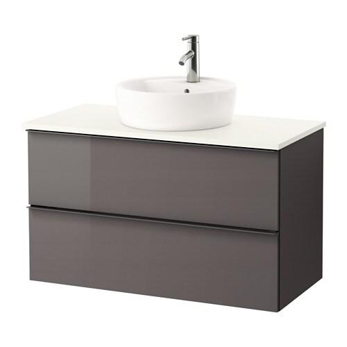 Godmorgon tolken t rnviken waschbschr aufsatzwaschb 45 for Ikea hochglanz grau