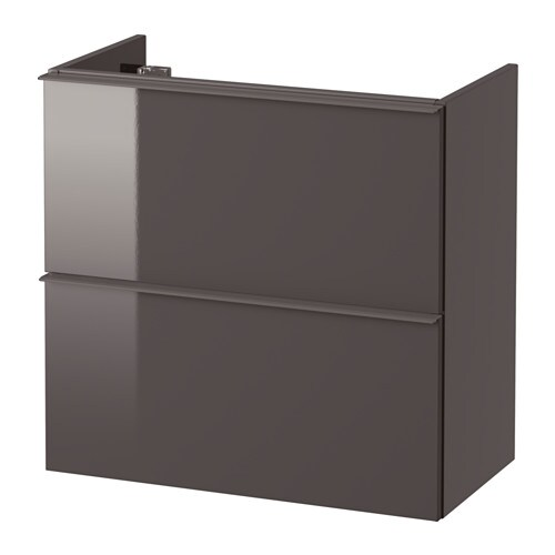godmorgon waschbeckenschrank 2 schubl hochglanz grau 60x32x58 cm ikea. Black Bedroom Furniture Sets. Home Design Ideas