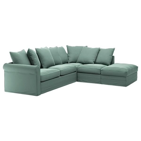 GRÖNLID Bezug für 4er-Eckbettsofa, ohne Abschluss/Ljungen hellgrün