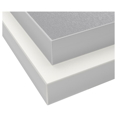 HÄLLESTAD Arbeitsplatte doppels., weiß aluminiumfarben/Metalleffektkante Laminat, 246x3.8 cm