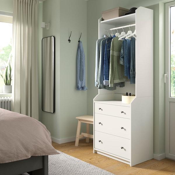 HAUGA Kleiderschr., offen mit 3 Schubl, weiß, 70x199 cm