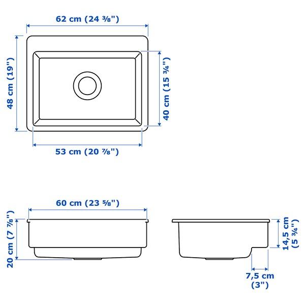 HAVSEN Spülbecken mit Frontblende, weiß, 62x48 cm