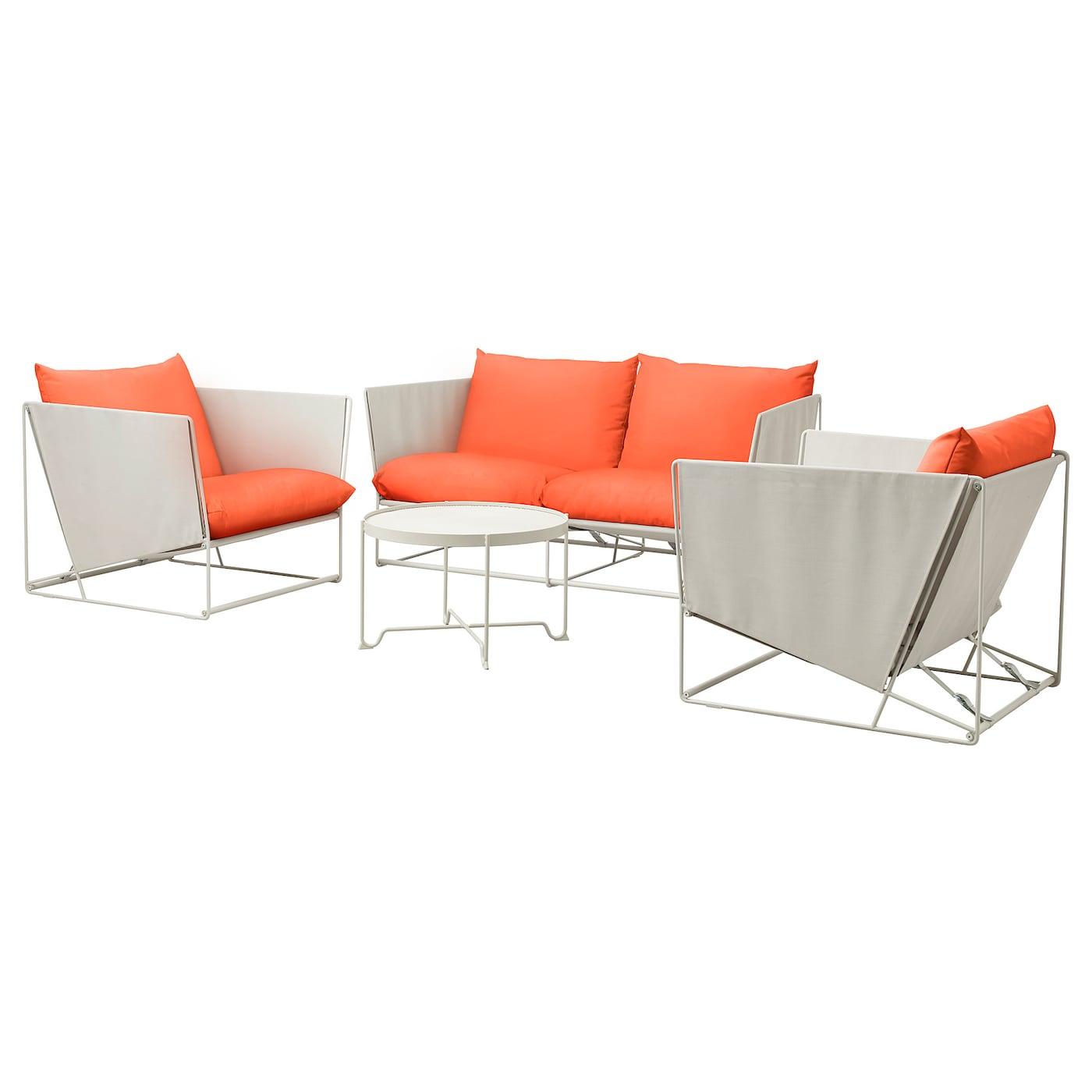 HAVSTEN 4er-Sitzgruppe innen/außen - orange, beige - IKEA ...
