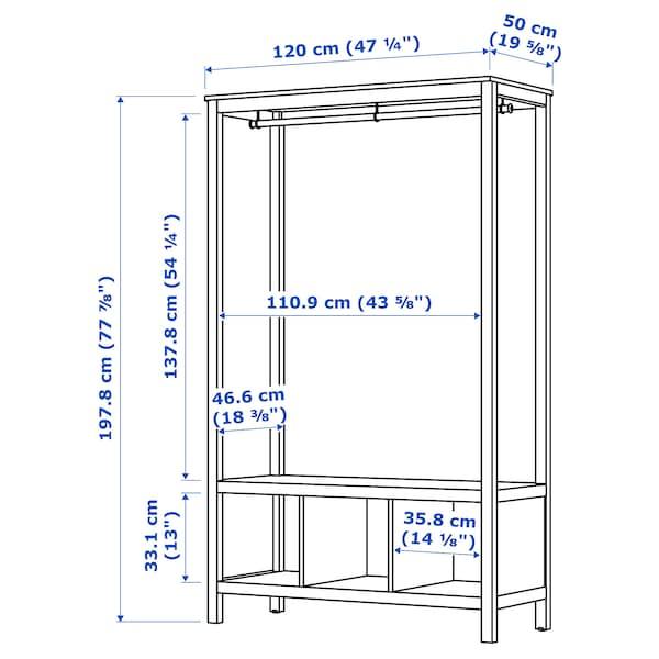 HEMNES Kleiderschrank, offen, weiß las., 120x50x197 cm