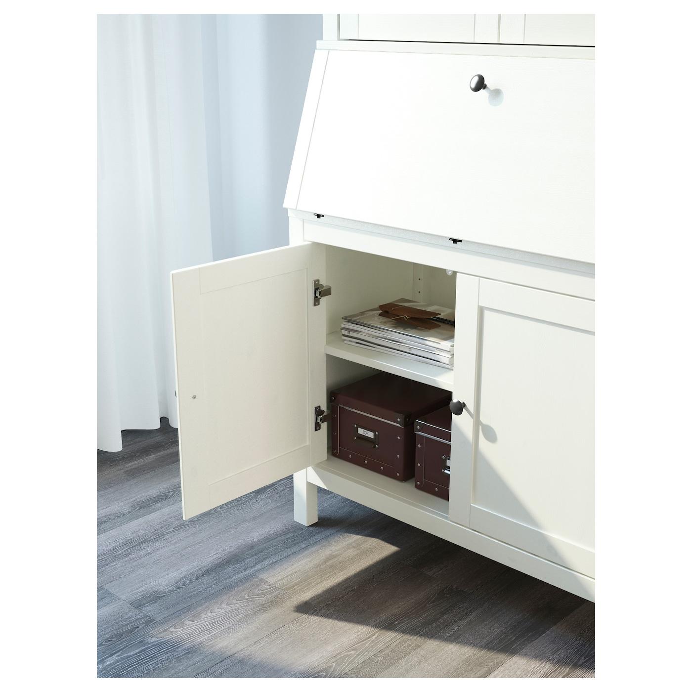 HEMNES Sekretär mit Aufsatz und Regal weiß gebeizt IKEA