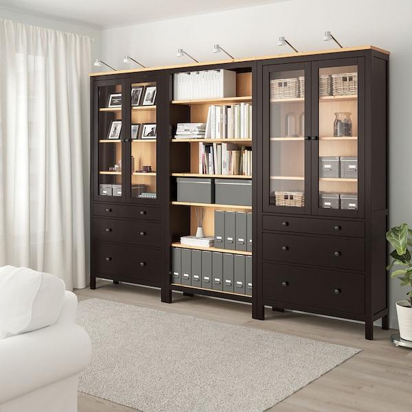 HEMNES Aufbewkomb.+Türen/Schubladen schwarzbraun/hellbraun 270 cm 37 cm 197 cm