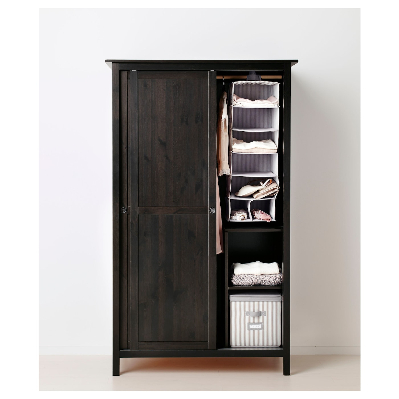 Hemnes Kleiderschrank Mit 2 Schiebeturen Schwarzbraun Ikea
