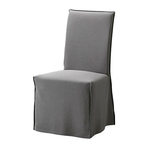 henriksdal stuhl mit langem bezug risane grau wei ikea. Black Bedroom Furniture Sets. Home Design Ideas