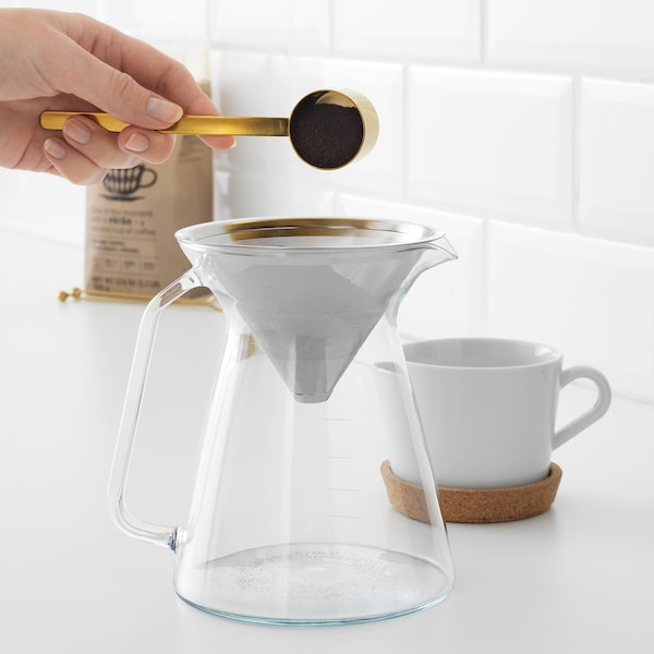 HÖGMODIG Kaffeekanne mit Filter, Klarglas/Edelstahl, 0.6 l