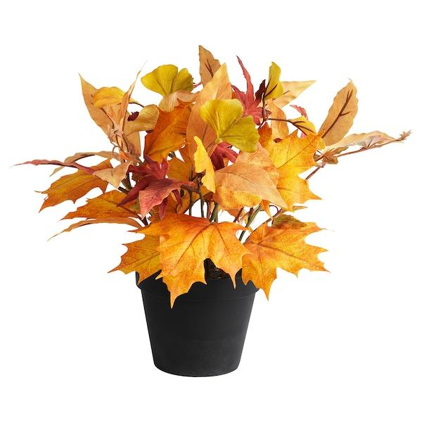 HÖSTPROMENAD Topfpflanze, künstlich, Arrangement/Blatt gelb, 12 cm