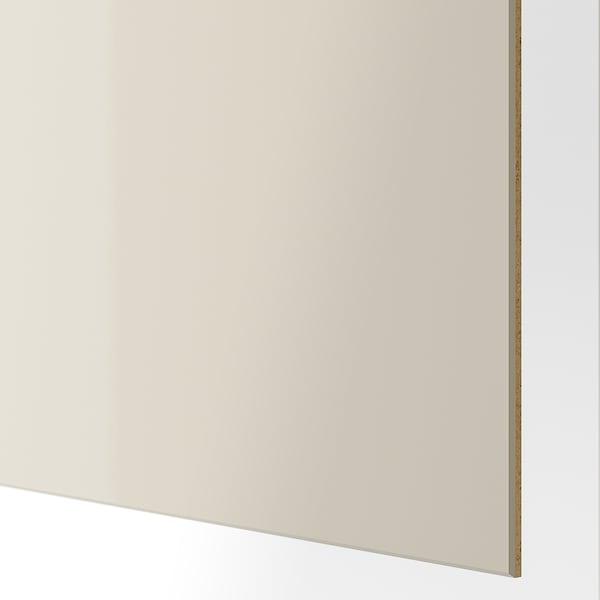 HOKKSUND Schiebetürpaar, Hochglanz hellbeige, 200x236 cm