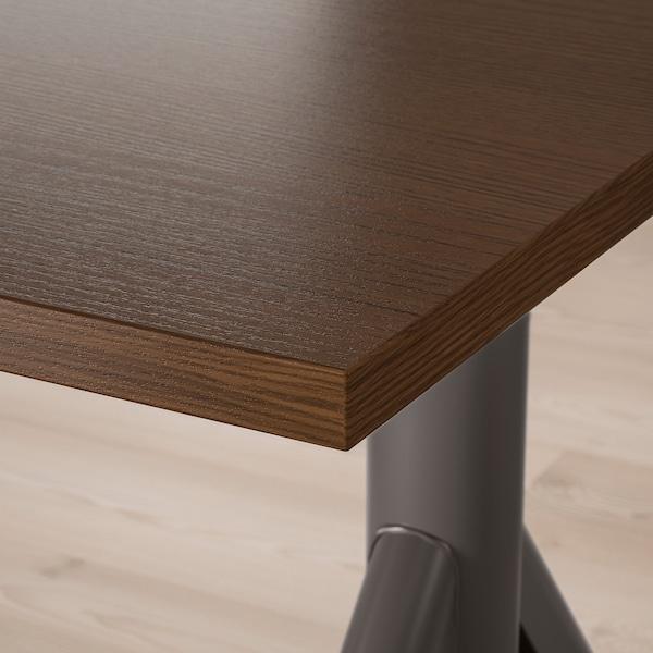IDÅSEN Schreibtisch sitz/steh, braun/dunkelgrau, 120x70 cm