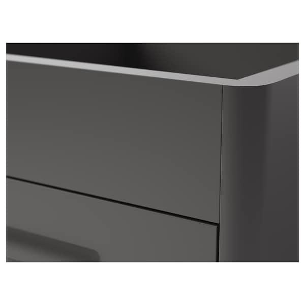 IDÅSEN Schubladenelement mit NFC-Schloss, dunkelgrau, 42x61 cm