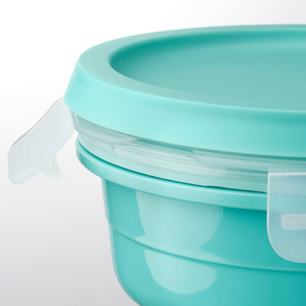 IKEA 365+ Lunchbox mit Extrafach, rund türkis, 450 ml