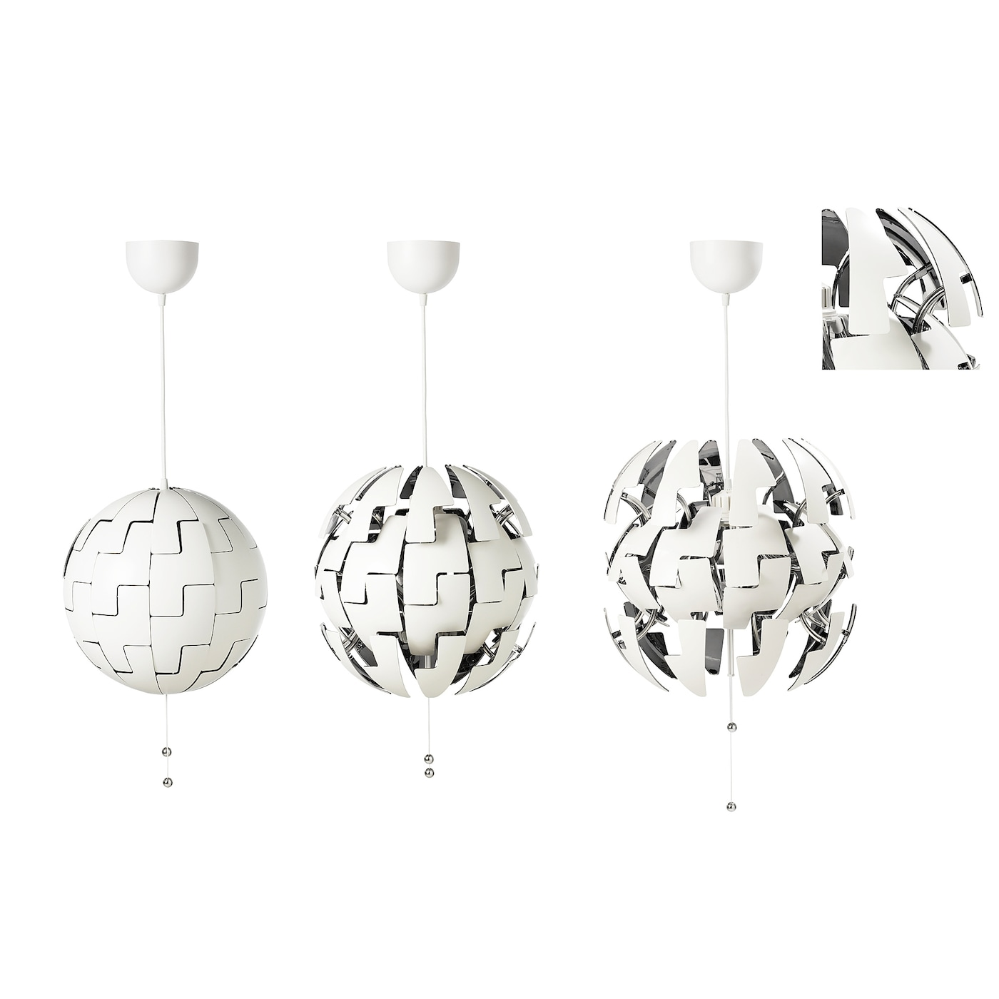 IKEA PS 2014 Hängeleuchte weißsilberfarben 35 cm