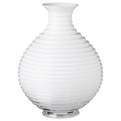 INBJUDEN Vase, Glas weiß, 20 cm