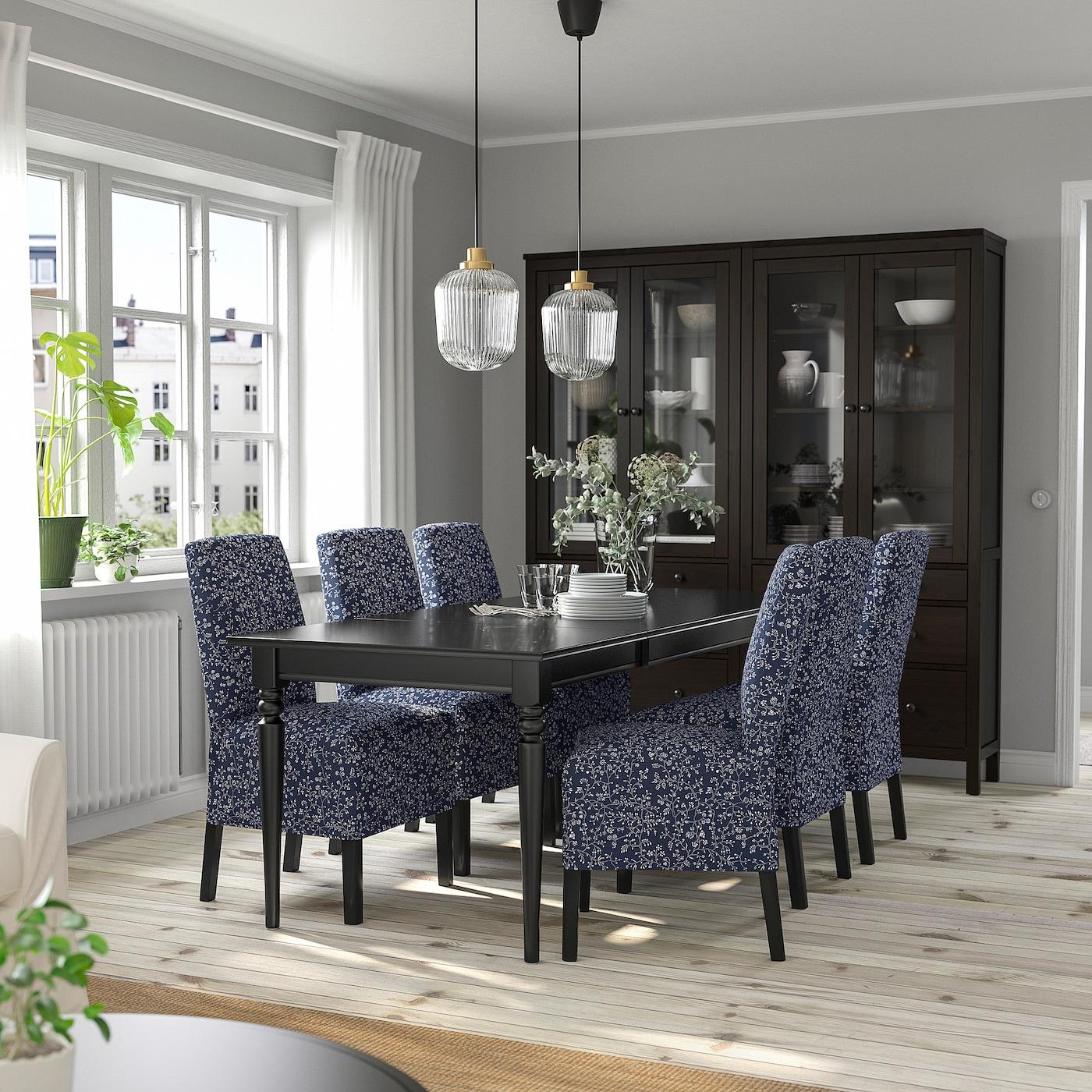 INGATORP / BERGMUND Tisch und 4 Stühle, schwarz/Ryrane dunkelblau, 155/215 cm