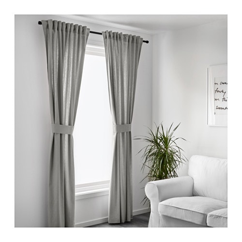 ingert 2 gardinen + raffhalter - ikea, Wohnzimmer dekoo